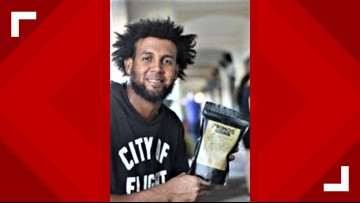 St. Louis Cardinals Jose Martinez promotes his coffee at Schnucks