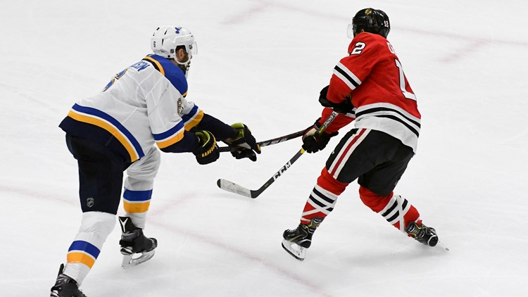 Set up by Erik Gustafsson's pass across the crease, DeBrincat tapped the game-winner past Jake Allen from the right edge of the net after Patrick Kane controlled the puck deep in the St. Louis zone.