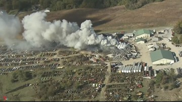 Black smoke from scrap yard fire seen for miles in Illinois