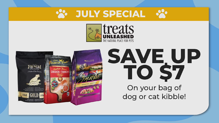 Save up to $7 on a bag of dog or cat kibble this month at Treats Unleashed