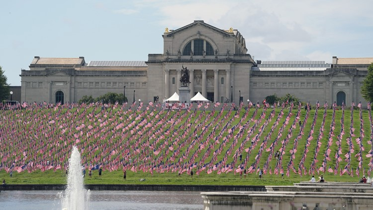 Photographers descend upon Flags of Valor display in Forest Park