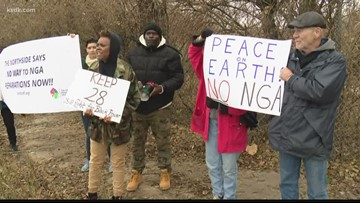 Protesters gather outside NGA groundbreaking, say new facility will force people out