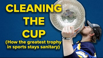 """Who cleans up the Stanley Cup after Blues players do """"things"""" to it?"""
