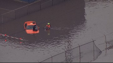 Cars and drivers stranded after flash flooding in Granite City
