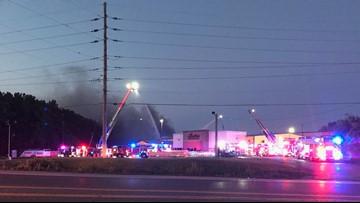 Large fire burning at Big St. Charles Motorsports