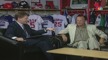 Stan Musial plays harmonica on the Sports Plus couch