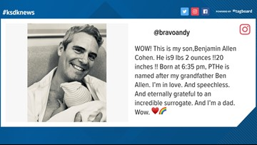 'I'm in love' | St. Louis native Andy Cohen becomes a dad