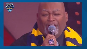 Charles Glenn returns to the Enterprise Center to sing the National Anthem for the All-Star Game