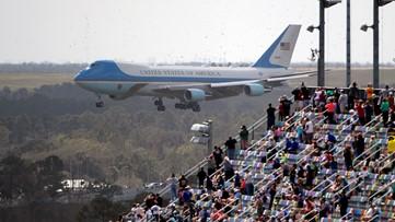 Trump arrives at Daytona 500, sets off raucous celebration