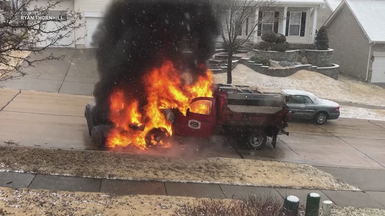 Eureka snow plow bursts into flames