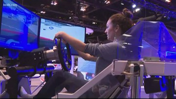 Courtney takes a ride in the Ford Performance Simulator