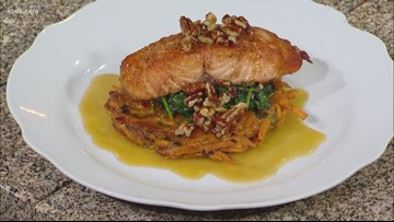 Recipe of the Day: Pan Seared Salmon with Maple Bourbon Glaze on top of a Sweet Potato Pancake
