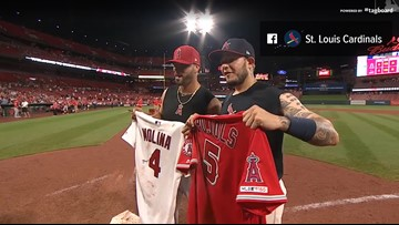 best value f5c34 f724d Yadi, Pujols swap jerseys as Angels avoid sweep with 6-4 win ...