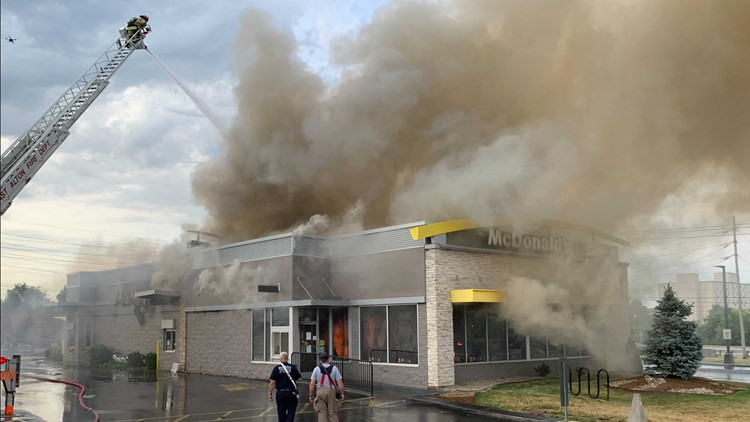 McDonald's fire spewing smoke in Alton for hours