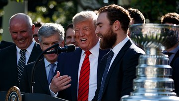 Blues use improv skills in White House visit