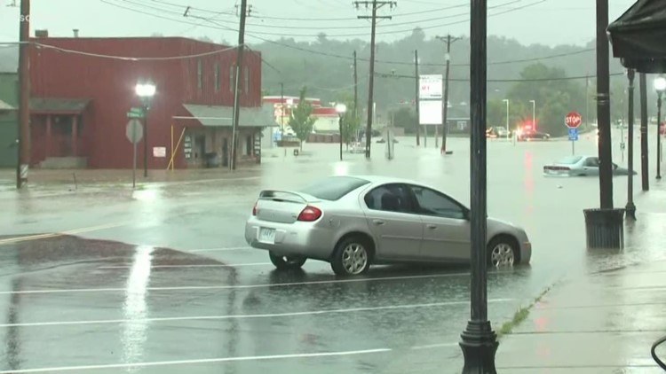 Fast-rising water floods out cars and businesses in Eureka