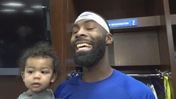 L'Damian Washington's son crashes post game interview
