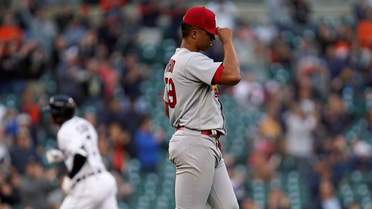 Oviedo shelled in unlucky 13th career start as Cards fall to Tigers 8-2
