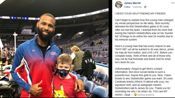 'You are my hero': DJ for Harlem Globetrotters trying to reconnect with St. Louis boy