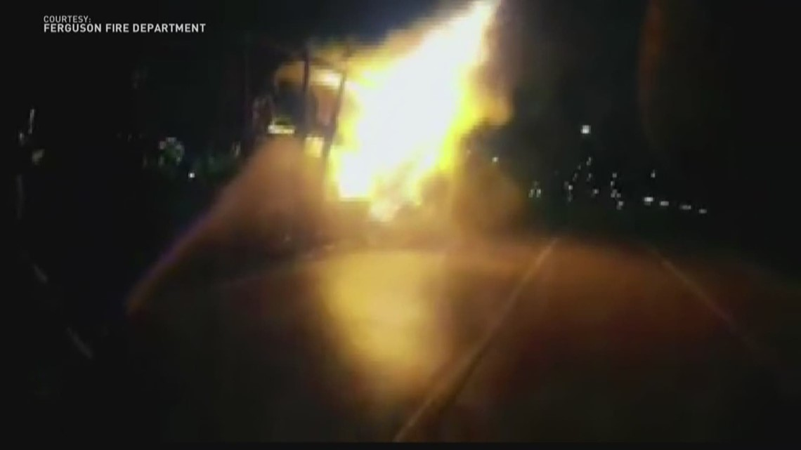Bodycam video shows Ferguson firefighters battle massive truck fire ...