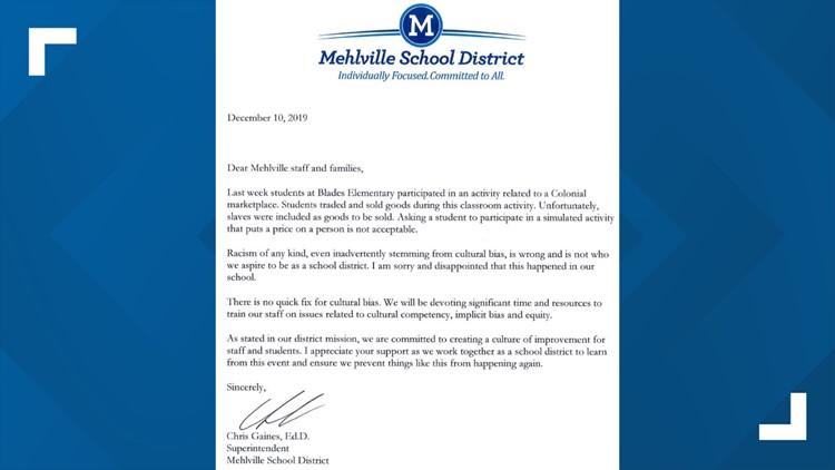 mehlville school district slavery homework superintendent letter