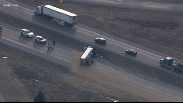 NB I-55 closed near Edwardsville after semi-truck overturns