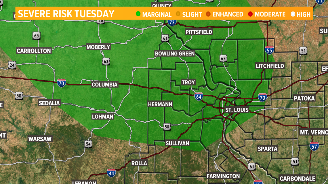 Isolated strong storms possible Tuesday afternoon