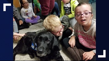 Fire dog connects with students who have special needs