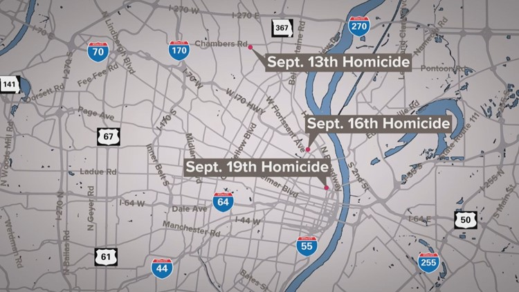 St. Louis police still searching for suspect tied to 3 connected homicides