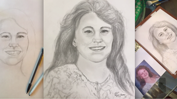 Artist sketches portrait of what Angie Housman would look like today for her father