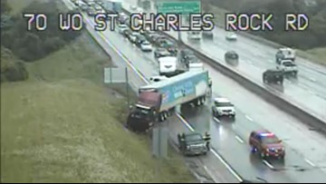 EB lanes of I-70 at 270 re-open after tractor-trailer crash