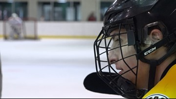 This hockey player battles on the ice while battling cancer