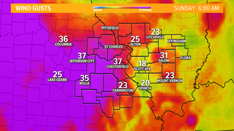St. Louis Area Wind Gusts