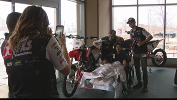 Supercross riders surprise patients at Shriners Hospital