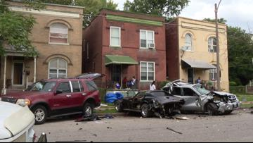Several cars damaged in destructive crash in Hamilton Heights neighborhood