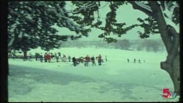 ARCHIVE: Sledders enjoy Art Hill in November 1975 snow storm