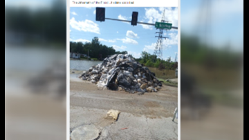 As flood clean up begins, residents notice mounds of trash around St. Louis County