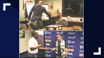 Local soccer team and sporting goods store give a big surprise to first responders