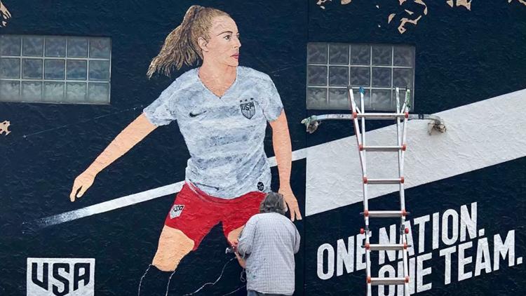 U.S. women's soccer mural in the Grove in St. Louis