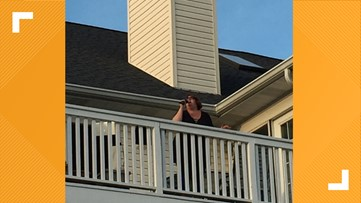 Show Me Kindness: Woman sings from her balcony and front porch family photos