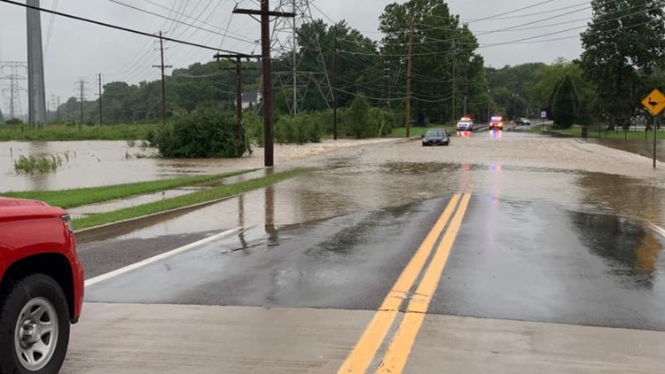 Car in flooded street