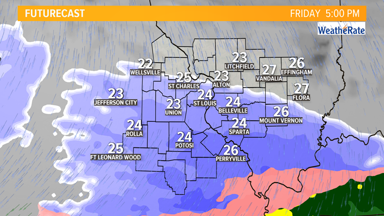 Ksdk Weather Map.Storm Alert 1 To 3 Inches Of Snow Friday Evening Commute To Be