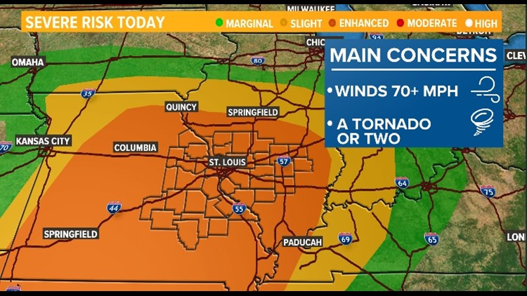 Storm Alert: Damaging winds, tornadoes and hail possible Sunday evening