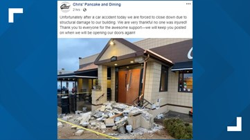 Car crashes into Chris' Pancake & Dining in south St. Louis