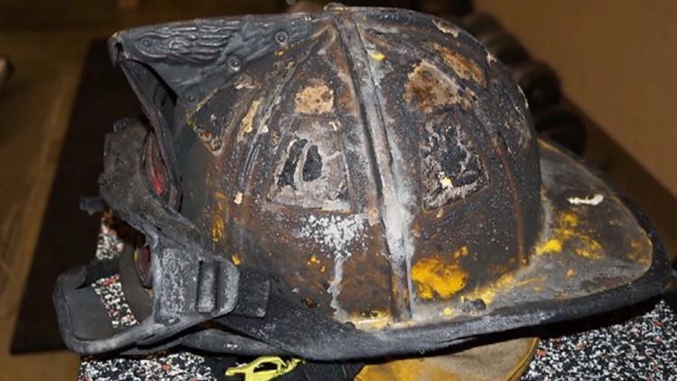 firefighter helmet burned