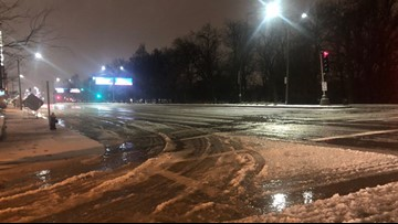 Slushy road conditions to start the day Wednesday