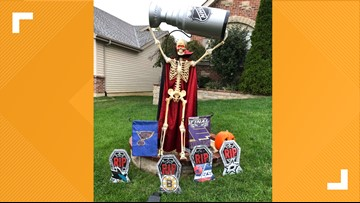 Skeleton hoists Stanley Cup in Lake St. Louis family's epic Halloween decorations