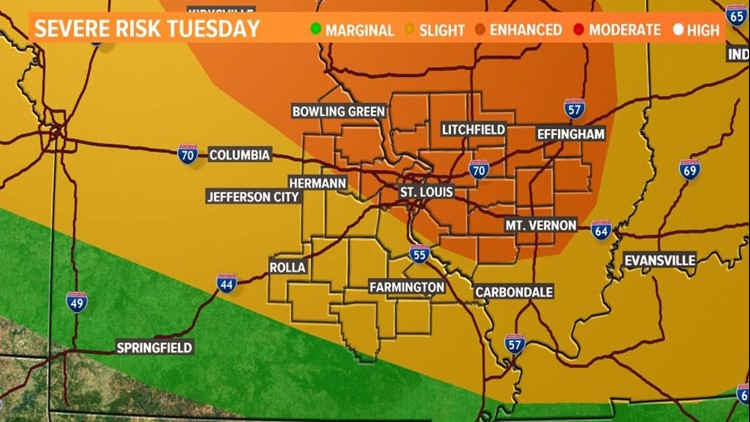 Storm Alert | Strong thunderstorms possible in the bi-state Tuesday
