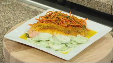 Recipe of the Day: Salmon, carrot salad, and cucumber-yogurt sauce