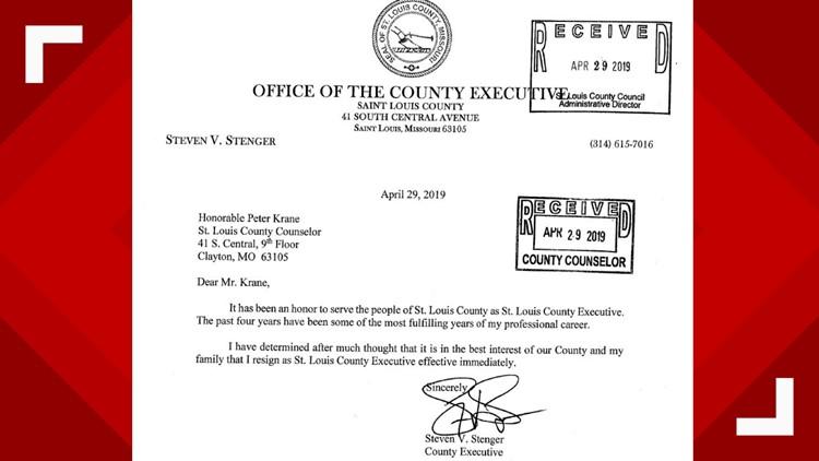 steve stenger resignation letter